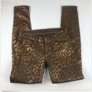 Seven Animal Skinny Jeans Gold Brown Metallic